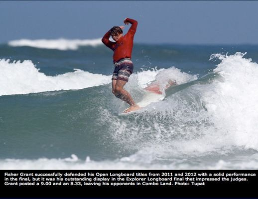 And the kid that won Longboard [Fisher Grant] has an amazing approach, super stylish... Surfline at NSSA 2013 East Coast Championships - NSB, FL